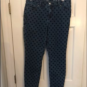Crown & Ivy Jeans with velvet polka dots like new
